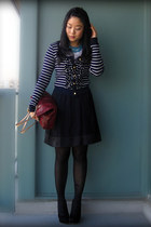 navy Zara cardigan - brick red Michael Kors bag - black Uniqlo skirt