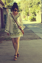 white embroidered free people dress - brown Michael Kors bag