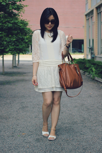 white Old Navy sandals - ivory H&M dress - brown Michael Kors bag