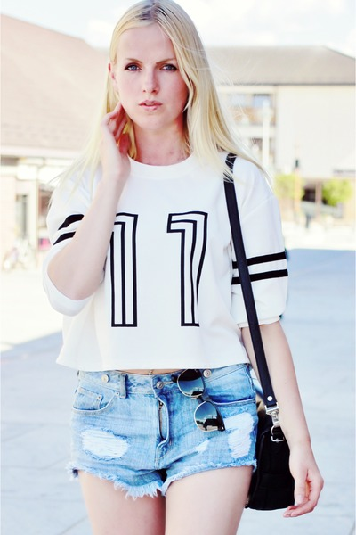 Nelly top - denim shorts H&M shorts