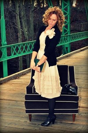 oxford Rampage shoes - chiffon Anthro dress - merino JCrew cardigan - flower JCr