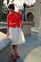 jackie JCrew cardigan - in a twinkling Anthropologie dress - suede UO pumps