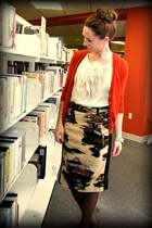 stable skirt Anthropologie skirt - gold tank JCrew top - merino JCrew cardigan -