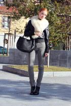 black Giuseppe Zanotti boots - black leather Pollini jacket - black Marni bag