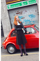 black leather Pollini jacket - dark brown wool D&G dress
