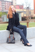 black vintage versace coat - navy joes jeans - brown Serapian bag