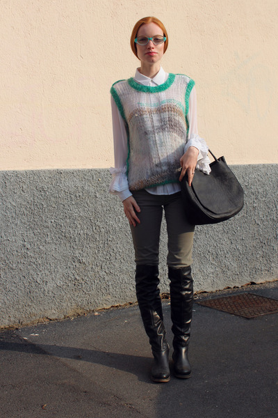 Bruno Magli boots - Rodarte sweater - Marni bag - Marni sunglasses