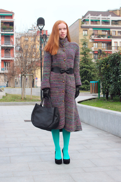 puce MALO coat - aquamarine Marni tights - black Marni bag
