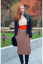 black leather Geox boots - carrot orange colour blocked Unknown Vintage dress