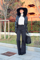 silver vintage silk YSL blouse - black Borsalino for Max & Co hat