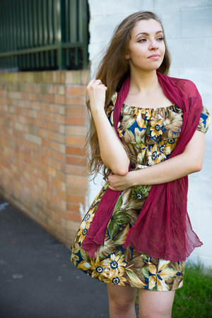 dress - scarf - heels
