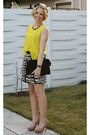 Black-mango-bag-white-vero-moda-skirt-yellow-zara-blouse