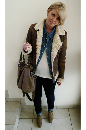 brown H&M jacket - light brown liebeskind berlin bag - blue Forever21 blouse