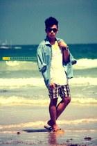 sky blue light weight thrifted blazer - gray plaid Billabong shorts