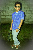 blue polo cotton on top - carrot fit Penshoppe jeans - Ray Ban accessories