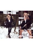 black Choies coat - black romwe leggings - white brashy top