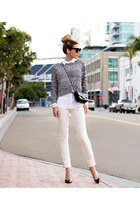 black Chanel bag - heather gray Modekungen sweater - white Equipment shirt