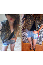 vintage blazer - Oscar de la Renta scarf - Levis DIY shorts - blink flats