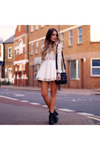 ivory Topshop dress - black markberg bag