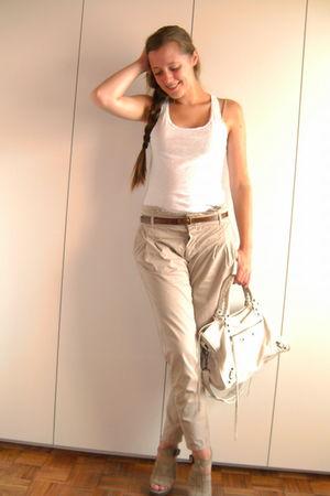 beige Zara pants - beige Zara shoes - white H&M top - white balenciaga bag