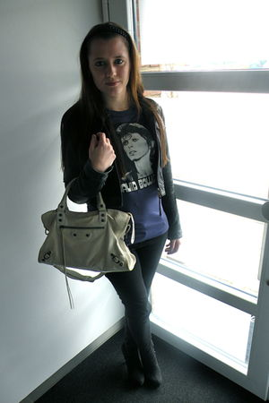 black Zara jacket - blue Dolce & Gabbana shirt - black H&M pants - black new loo