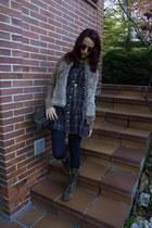 light brown Coolway boots - navy vintage dress - light brown Sfera jacket - dark