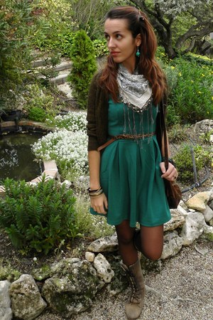 teal chinese market dress - camel Coolway boots - turquoise blue Bershka scarf