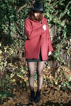 brick red Krossy coat - black Krossy dress - black Krossy hat