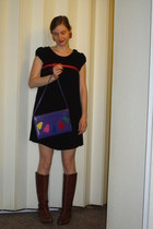 deep purple thrifted purse - brown thrifted boots - black gifted H&M dress
