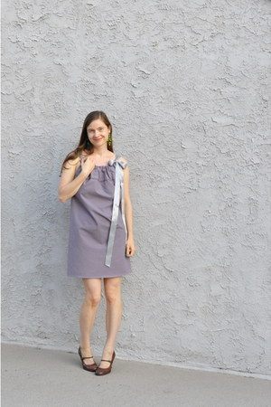 light purple DIY dress - chartreuse swapped earrings