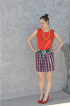 red DIY dress - yellow DIY necklace - teal thrifted belt - red thrifted heels