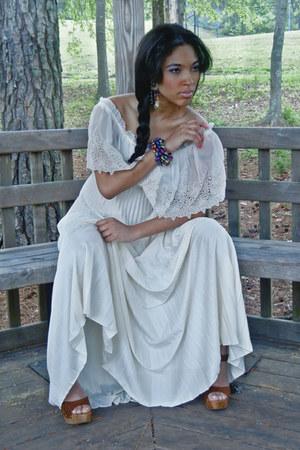 ivory vintage dress - light brown Forever 21 clogs