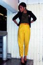 Black-forever-21-blazer-yellow-thrifted-pants-black-thrifted-blouse-black-