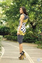 white Fairground top - purple sm acc earrings - white Fairground skirt