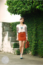 carrot orange windsor skirt - aquamarine TLTSN wedges
