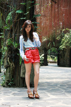 red Forever 21 shorts - tan WAGW belt - sky blue American Eagle top - tawny Char