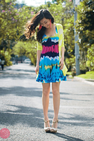 sky blue House of Eva dress - lime green WAGW cardigan - white Aldo heels