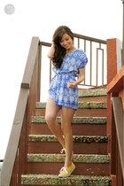 blue Mango romper - yellow Keds sneakers