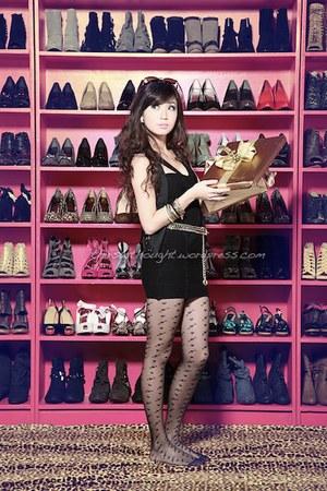 hot pink SO FAB shoes - black H by G Licaros dress - black WAGW vest - gold WAGW