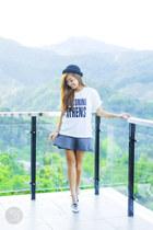 white WAGW top - heather gray WAGW skirt
