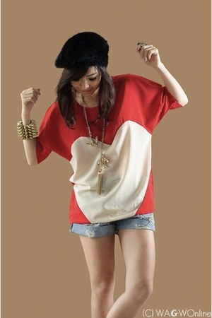 red WAGW top - black WAGW hat - sky blue WAGW shorts - gold WAGW accessories