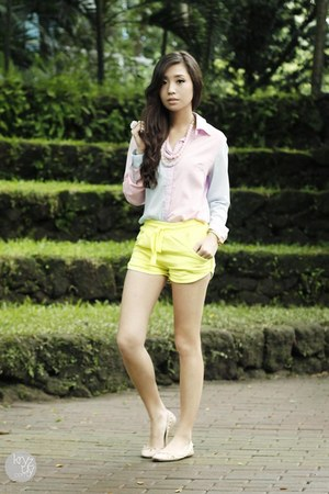 light pink Covetz top - chartreuse romwe shorts - eggshell Zara flats