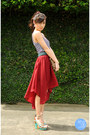 Brick-red-sheinside-skirt-turquoise-blue-sofab-wedges