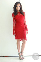 red Mango dress - white Mango heels