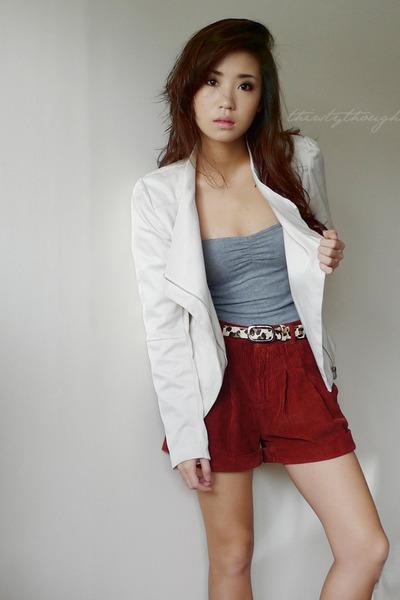 white Forever 21 blazer - crimson Topshop shorts - heather gray Forever21 top -