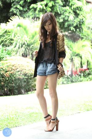 camel Zara blazer - navy OASAP shorts - black Topshop top