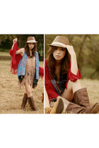 brown pat prieto boots - brown Nava hat - camel boheme top - ruby red boheme car