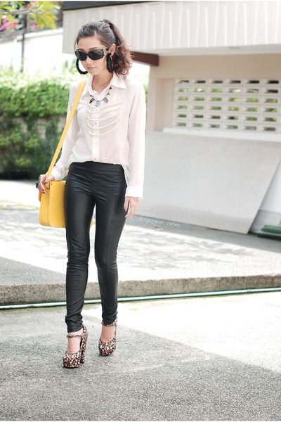 black f21 heels - black Topshop leggings - yellow Kissaholic Manila bag