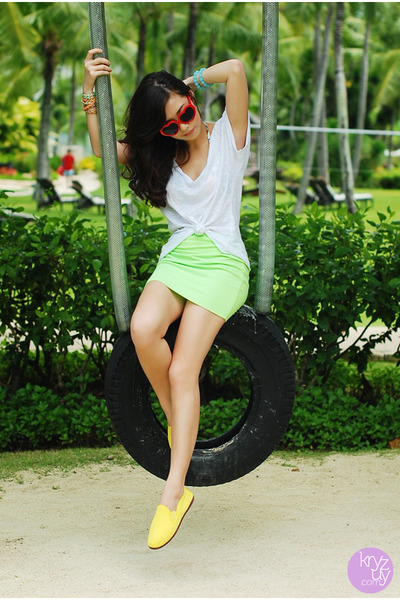 yellow flossy flats - red HK sunglasses - lime green windsor skirt
