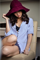periwinkle beijing top - crimson Forgot hat - navy WAGW skirt